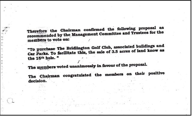 Bridlington Golf Club Emergency General Meeting Minutes